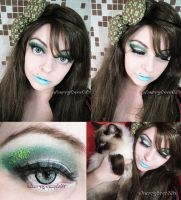 Makeup Christmas Look Green Gray Eyes by cherrybomb-81