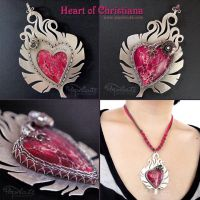 Feather Heart Pendant Necklace by popnicute
