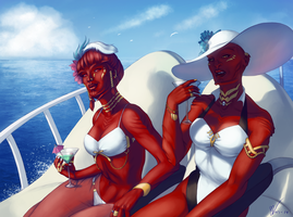 Two Divas On A Boat by KaraNan