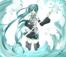 Hatsune Miku: Ice/Water Mage by ChocoMilkyNeko