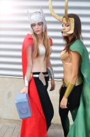 Sisters (Lady Thor and Lady Loki Cosplay) by GlowingSnow