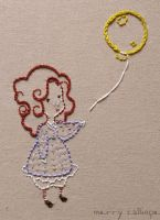 Embroidery - Girl with Balloon by coyohti