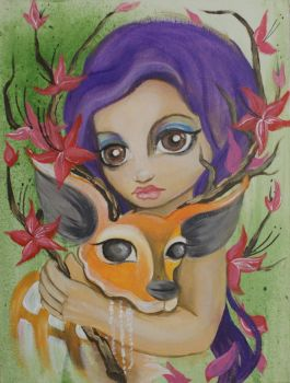 Girl with her deer by sanne-de-haan