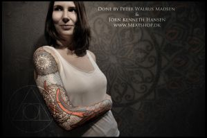 Sleeve of Feathers and geometry tattoo 2 by Meatshop-Tattoo