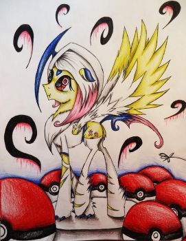 Fluttershy Cosplaying as Absol by Cre8iveWing