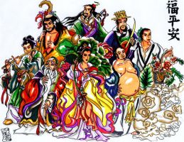 eight immortals of china by KwongBee-Arts