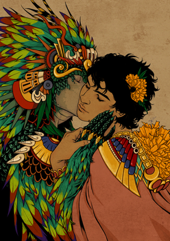 Quetzalcoatl and Mictlantecuhtli by oldshuck