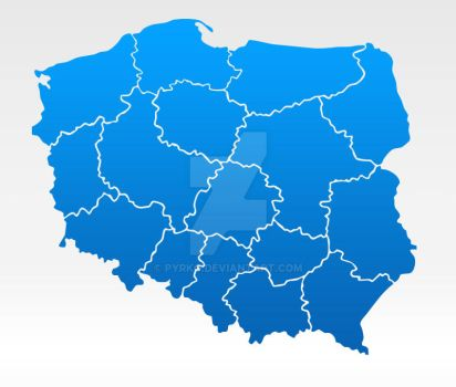 administrative map of Poland by Pyrko