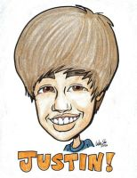 Justin Bieber caricature (head and shoulders) by artbylukeski