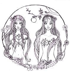 Lilith and Eve -Adam's 2 wifes by Oo-Ninart-oO