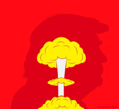 Trump Nuclear Mushroom Cloud Head by HalHefnerART
