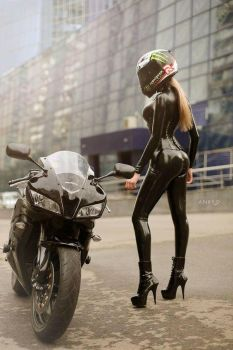 Latex catsuit - Rider by LARK0278
