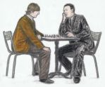 Brian Epstein and John Lennon playing chess by gagambo