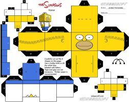 Homer Simpson Cubee Template by jordof131