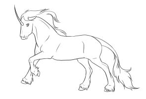 .Unicorn Lineart. by xRedLily