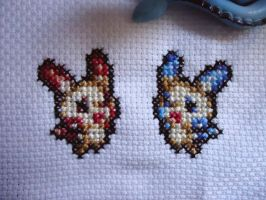 Cross stitch Plusle and Minun by Miloceane