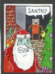 An Adventure Time Christmas sketch card by johnnyism