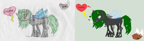 Crystal Old Changeling Skin Before and After by victoriame