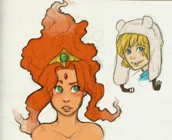 Finn and Flame Princess Sketches by damsel-in-distrust