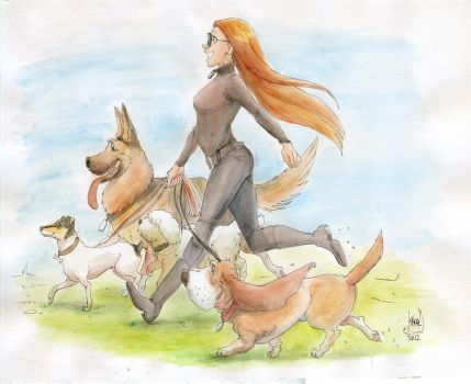 Sister and dogs - watercolor by KarlaDiazC