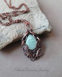 Light Blue-Green Amazonite and Copper Pendant by blackcurrantjewelry
