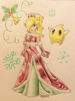 Christmas Rosalina and Luma by qstarfire