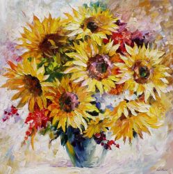 Sun Flowers by Leonid Afremov by Leonidafremov