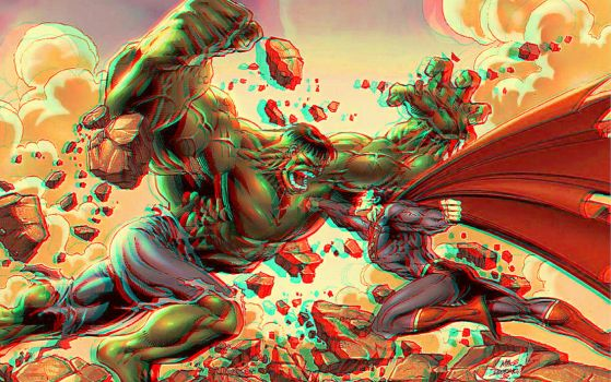 Superman Vs Hulk 3D Relief Rouge Cyan Anaglyph by Fan2Relief3D