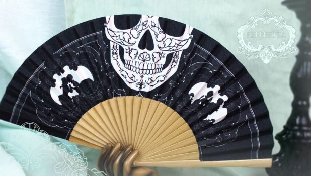 Rococo Skull Folding Fan by pepper-tea