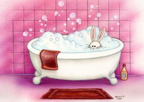 Bubble Bath Bunny by spiraln