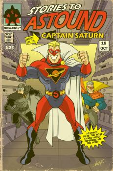 Captain Saturn retro cover by natelovett