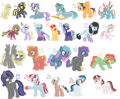 adopts] Old Pony Characters 2 - OPEN!! by Oxymoronic-Adopts