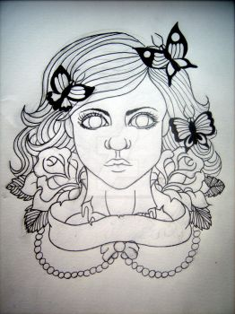 Decapitated Beauty Tattoo Design by AmyLouiseZombie
