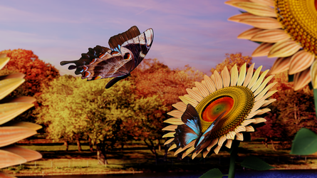 Sunflowers and Butterflies by Bahr3DCG