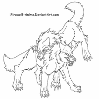 Wolf Fight LineArt by Firewolf-Anime