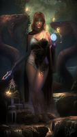 Sorceress with enchanted creatures by musane