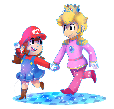 Commish: Genderbent mario and peach (DT Style ) by MarioCatBros123