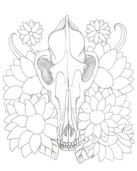 Coyote Skull and Flowers