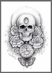 Skull, watch and moth thigh tattoo design by kirstynoelledavies