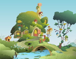 Fluttershy`s cottage vector by roadsleadme