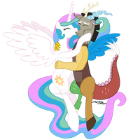 Celestia and Discord by AgnessAngel