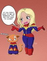 Captain Marvel and Chewie by MichaelLinkJr