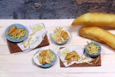 1:12th scale miniature fish n chips by sugarcharmshop