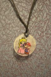 Mario and Peach Necklace by NintenDani