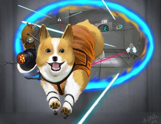 Portal Corgi by HeatherBomb