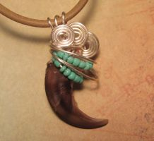 Turquoise Wolf - Real Wire Wrapped Wolf Claw by Gray-Ghost-Creations