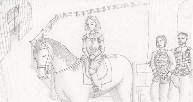Hilda young, on a horse in Pyrewood. by Donniebellorniere