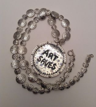Art Saves silver tribal beaded resin necklace by ArtAgainstSociety