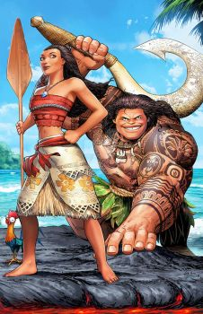 Moana Maui and Heihei  by SaviorsSon