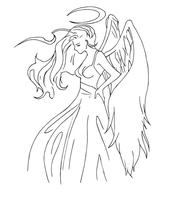 Angel clip art (line art) by electronicdave